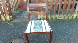 1 Regency dining chair, cushion clean but wobbly as joint broken, good for repaint skill training