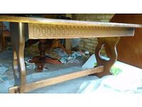 Carved dining table,,extendable,solid oak,carved edge,stable,145-180cm,no chairs