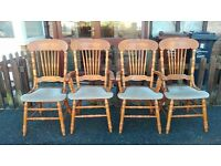 4 dining chairs,solid oak,carved back,clean cushion,stable,2 carver