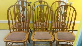 6 carved dining chairs,solid oak,sturdy,stable,cushion not clean