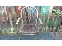 1 dining chair, carver, solid oak,Jaycee,carved, wheel back,vanish wear