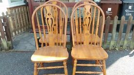 4 dining chairs,solid oak,carved back,high back,good physical condition