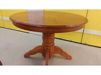 Round dining table,solid oak,carved leg,105cm,adjust screw,VGC,extendable but extension part missing