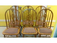 6 carved dining chairs, solid oak, sturdy, stable, cushion not clean