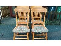 4 dining chairs, solid oak,carved back, clean cushion,sturdy