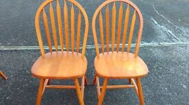 2 dining chairs,solid teak,Windsor, very good condition