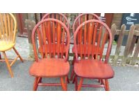 4 dining chairs,solid teak,carved,Windsor style,stable,a little whitish,no table