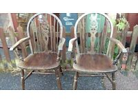 2 dining chair, carver, solid oak,Jaycee,carved, wheel back,vanish wear
