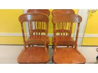 4 dining chairs, solid oak,carved back,sturdy and stable, no carver,no table