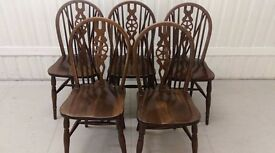5 dining chairs,solid oak,Jaycee,carved,good condition,wheel back