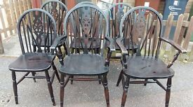 6 dining chair,solid oak,Jaycee,carved,wheel back, good physical condition ,2 carvers
