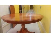 Round dining table,Regency,Yew wood,extendable,carved,105-155cm,castor,no chair