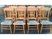 8 dining chairs,solid oak,carved back,clean cushion,stable,2 carvers