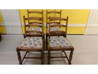 4 carved dining chairs,solid oak,ladder back,clean cushion