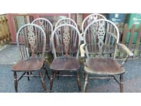 4 dining chair,solid oak,Jaycee,carved,wheel back,vanish wear but stable