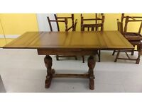 Antique dining table, extendable, carved leg, solid oak, 100-160CM, VGC , no chair