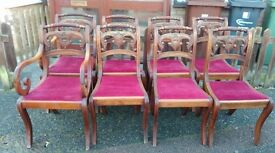 8 dining chairs,Mahogany,carved back,cushion clean,stable,2 carvers