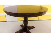 Round dining table, solid oak, extendable, carved leg, very luxury, 105-150cm,no chair
