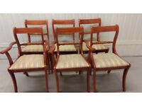 6 Regency dining chairs,Yew wood,carved,clean cushion,stable,no carvers
