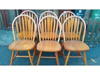 6 dining chairs, solid teak wood, Windsor style, stable