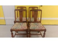 4 antique dining chairs, solid oak, carved leg and back, good condition