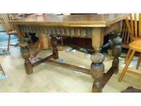 Carved dining table, solid oak, carved leg, 125-185cm, no chairs