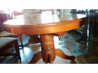 Round dining table,solid teak,extendable,carved,105-150cm,adjust screw,no chair
