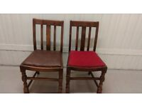 2 carved dining chairs,solid oak,1 leather,antique,good condition