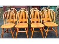 8 dining chairs, solid teak wood, Windsor style