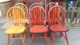 6 dining chairs,solid teak, Windsor style