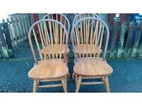4 dining chairs,solid oak,carved,Windsor style,stable