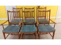 6 dining chairs,Stag,Yew wood,carved,good physical condition,2 carvers