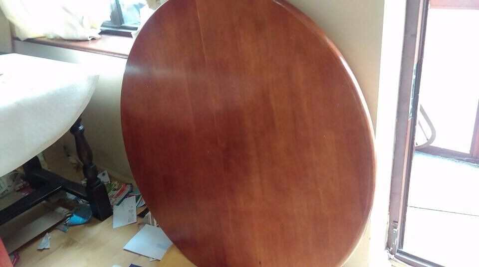 Round dining table, solid teak wood, extendable, carved,105-150cm, adjust screw, no chairs