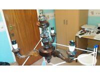 3 lights chandelier, mahogany, vintage,antique