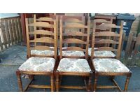 6 dining chairs,solid oak,ladder back,carved,clean cushion
