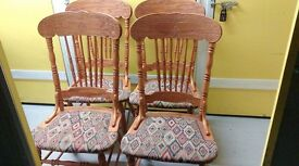4 dining chairs, solid oak,carved back,clean cushion,sturdy