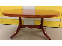 Regency dining table,Yew wood,160-215CM,carved,extendable,sit up to 10, no chair