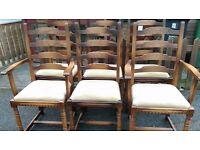 6 dining chairs, solid oak, carved leg, ladder back,stable, clean cushion