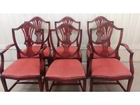 5 dining chairs, Victorian style, Mahogany, carved back, stable, Very good condition