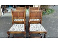 4 carved dining chairs,solid oak,carved leg and back,good condition