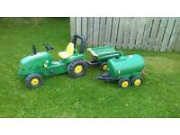 Toy tractor and trailers.