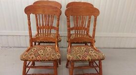 4 dining chairs, solid oak,carved back,clean cushion,sturdy,match my round table