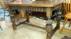 Victorian dining table, solid oak, carved leg, 125-185cm, no chairs