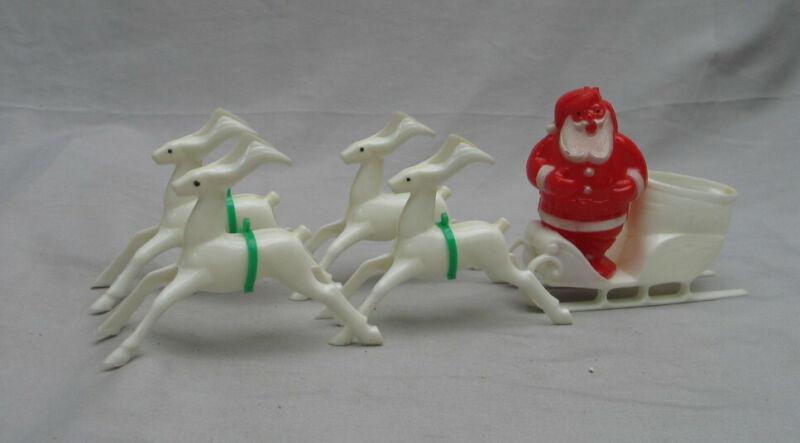 Plastic Santa in Sleigh -- Vintage Christmas Decoration