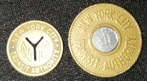 2 NYC TRANSIT AUTHORITY TRADE TOKENS