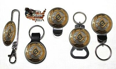 Large Texas Mason Masonic Bottle Opener Key Fob Key Holder or Money Clip 1 3/4 ()