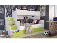 Bunk beds with great storage built in, sleeps three / triple