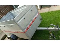 TRAILER - GALVANISED STEEL BODY (MAKER CADDY) 5FT WITH HIGH SIDES WHICH ARE REMOVABLE