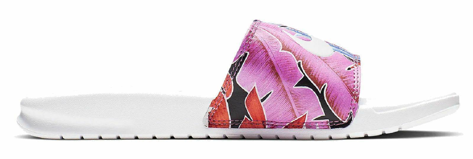 Nike Damen Bade-Schuhe Benassi WMNS BENASSI JDI PRINT weiss Blumen