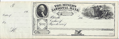 1860S Us Bank Check  The  Coal  Miners National Bank  Unc Details